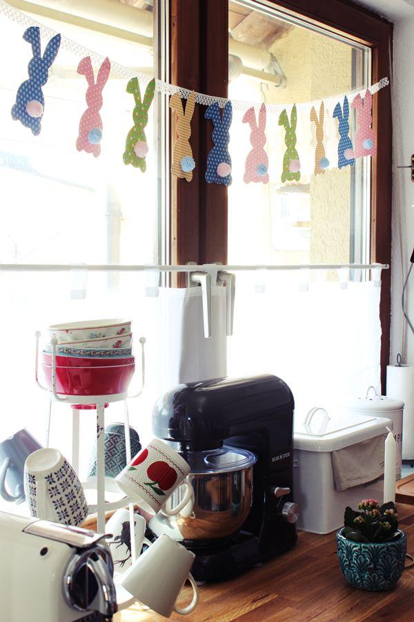 Osterhasen Girlande mit Woll Pom Pom DIY