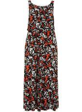 Evans Orange Leaf Print Maxi Dress - Evans