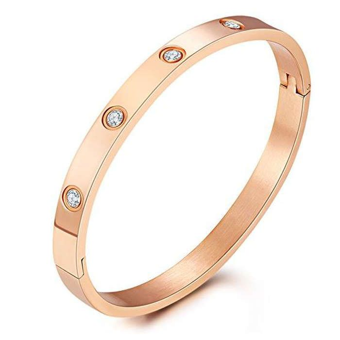 Rank & Style - Mocalady Jewelers Rose Gold Plated Bangle Bracelet #rankandstyle