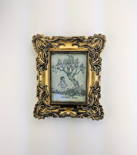 Halloween Decor – Gold with tarnish Frame  Handmade – Strange tree Print Decorations indoor vintage