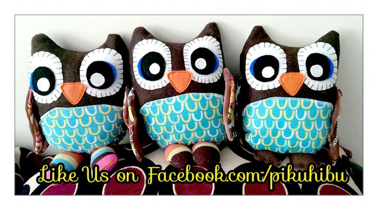 "These are the PikuHibu ""Owlets"", signature plushie of the owl line. Owl feet can be made of felt or colourful striped socks. Wing pattern fabric is selected for girls or boys."