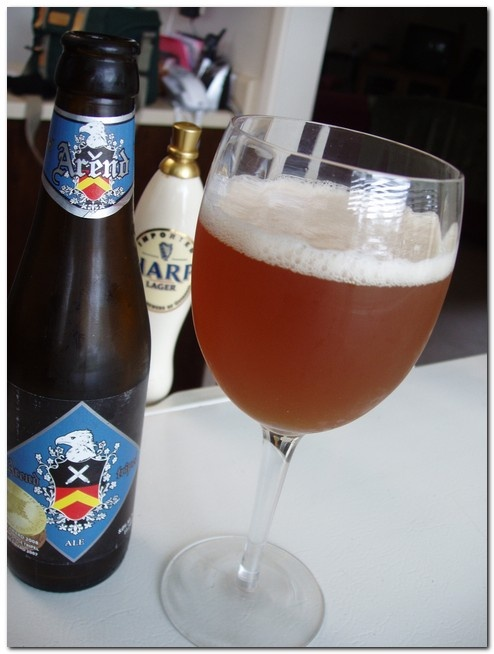 Arend Tripel, 8% alcohol, Brewery De Ryck, Herzele, East Flanders. One of the best Belgian tripels, it's very well balanced and delicate. You can serve it as an aperitif instead of champagne. If you do so, it's a good idea to use wine glasses. Beer is lighter and easier to digest than wine, and it contains less alcohol.