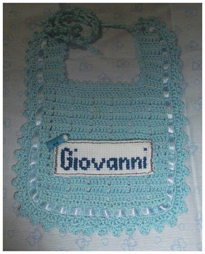 Bib with name crochet cross-stitch