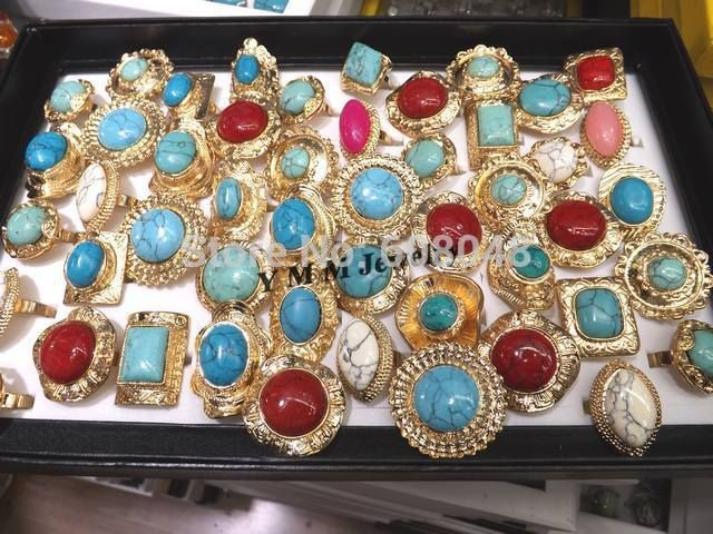 Регулируемая золото-tone кольца с бирюзой смешанных цветов ретро ближний восток кольца 50 шт./лот оптовая продажа