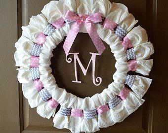 CUSTOM Personalized Diaper Wreath Any by PolkaDotsandZigZags