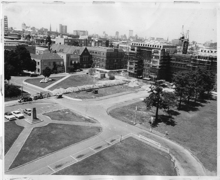 South Lawn site prior to construction of the underground car park, 1970