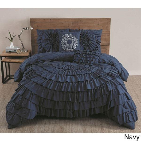 Maison Rouge Borges Ruffled 5-piece Comforter Set - Free Shipping
