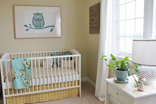 Amazing Nursery. Owl print, crib skirt, lamp: Neutral Nursery, Owl Picture, Nursery Inspiration, Nursery Ideas, Baby Rooms, Neutral Nurseries, Baby Stuff
