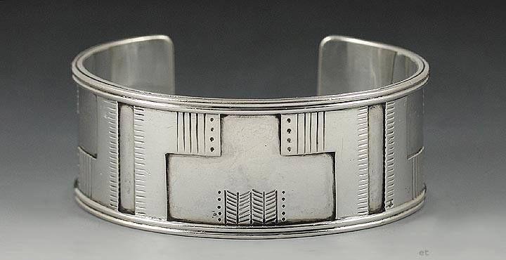 Sterling silver cuff bracelet by danish designer Just Andersen ca 1920