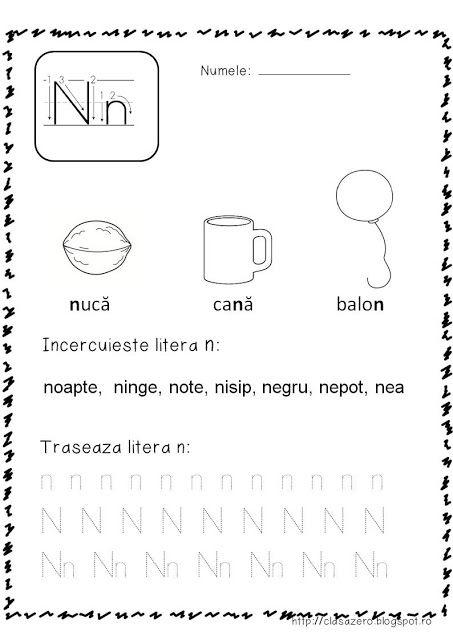 Clasa pregatitoare: Fisa de lucru pentru sunetul si litera N