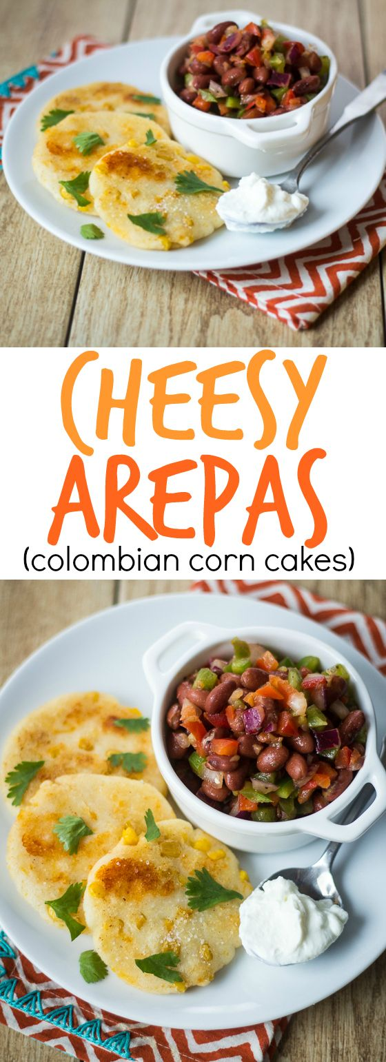 Melty cheddar cheese and sweet corn kernels add a special something to these Colombian Arepas!