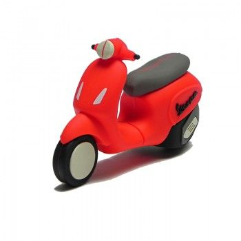 Funny silicon USB flash drive inspired to new model of Vespa Primavera. Capacity 4 GB. Color red. Packeged in cardboard box of cm 14 x10 x 3.