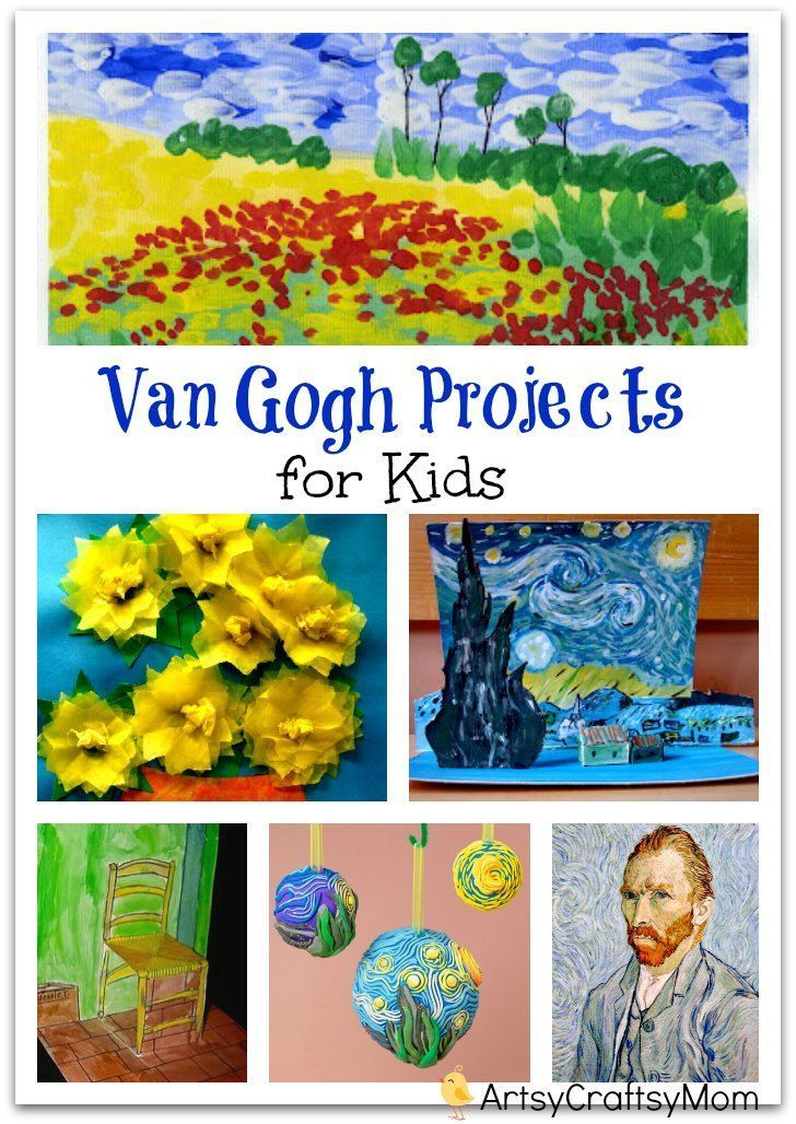 Van Gogh Projects for Kids - 10 Inspiring Ideas to try with your kids, celebrateing 'Inspire your Heart with Art Day' starry night, sunflowers, art & craft.