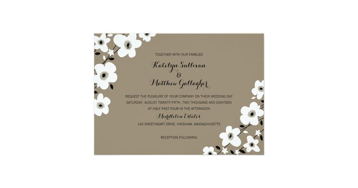 FROM THE MODERN ANEMONE WEDDING COLLECTION: White & Tan Anemone Flowers in a modern design for your Wedding Invitation with Kraft Tan background. A Tan, Black and white gingham pattern on the back of the invitation. If you would like a different color Anemone flower or any other design changes please let me know and I'll recreate that for you but please contact me before placing an order. Email paula@labellarue.com Happy Wedding Planning! Make sure to pick your favorite cardstock t...
