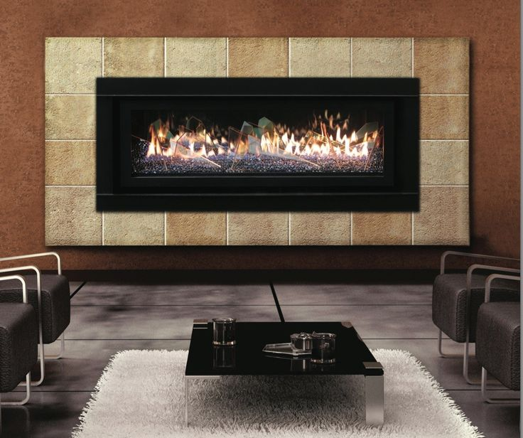 appealing modern gas fireplace with black rectangular wall hanging fireplace along brown marble frame and accent