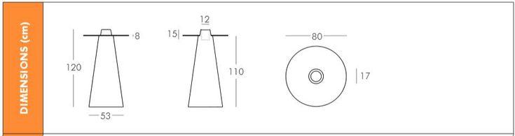 Dimensions de la table haute ronde peak Ø80 cm Slide design