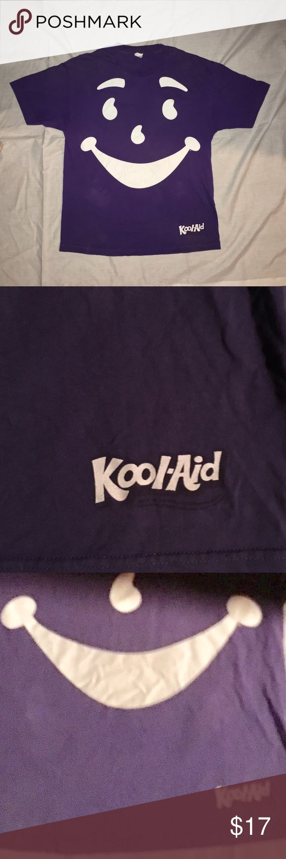 Old school kool-aid man t shirt Purple kool-aid man t shirt. No holes stains or pulls. It has some fading - see third pic for more accurate color. Alstyle brand - retro hipster vintage Shirts Tees - Short Sleeve