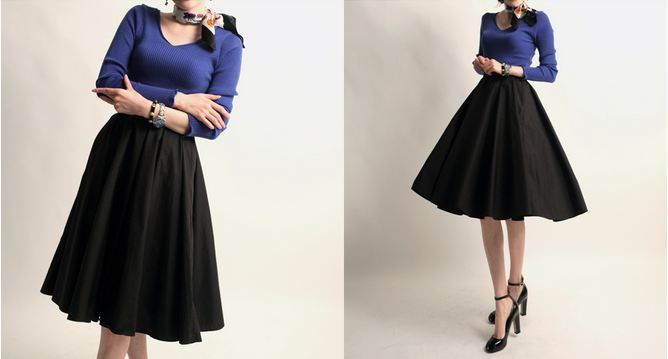 Korea feminine clothing Store [SOIR]  [Sk] Lady Flare Skirt/ Size : Free/ Price : 58.95USD #korea #fashion #style #fashionshop #soir #feminine #special #lovely #luxury #skirt #Ivory #black #longdress #beige #black