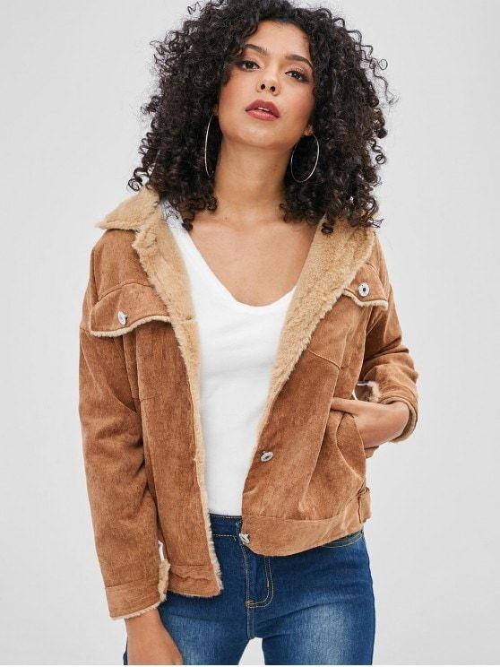 Pockets Faux Fur Lined Corduroy Jacket Light Brown Zaful