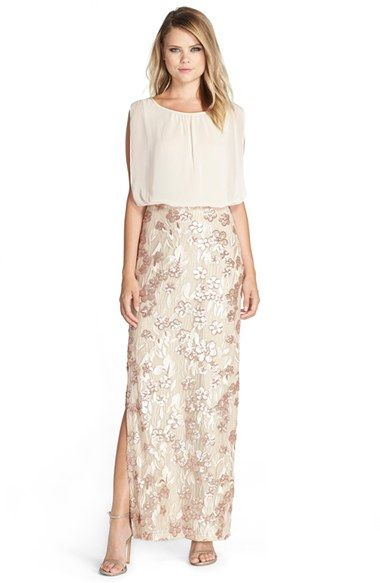 Free shipping and returns on Aidan by Aidan Mattox Chiffon & Embroidered  Sequin Blouson Gown at