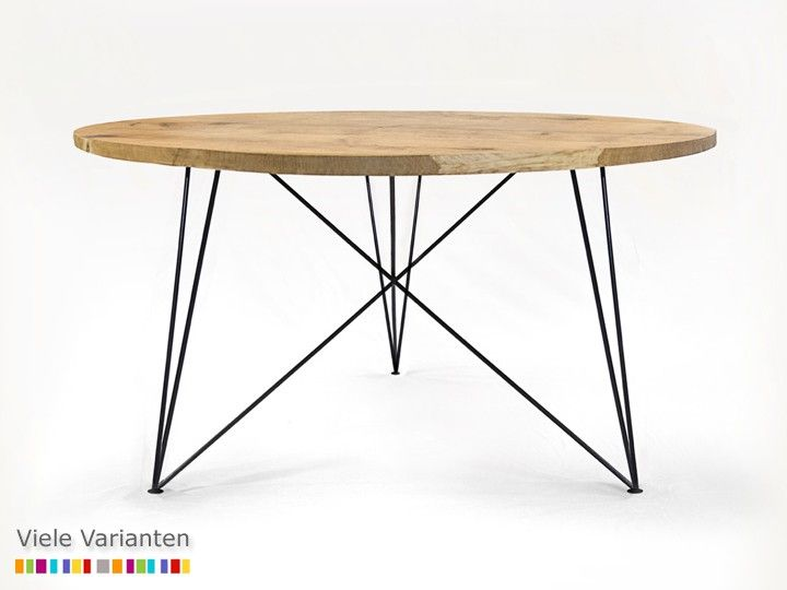 OAK STEEL TABLE Esszimmer Esstisch rund NutsandWoods Eiche & Eisen