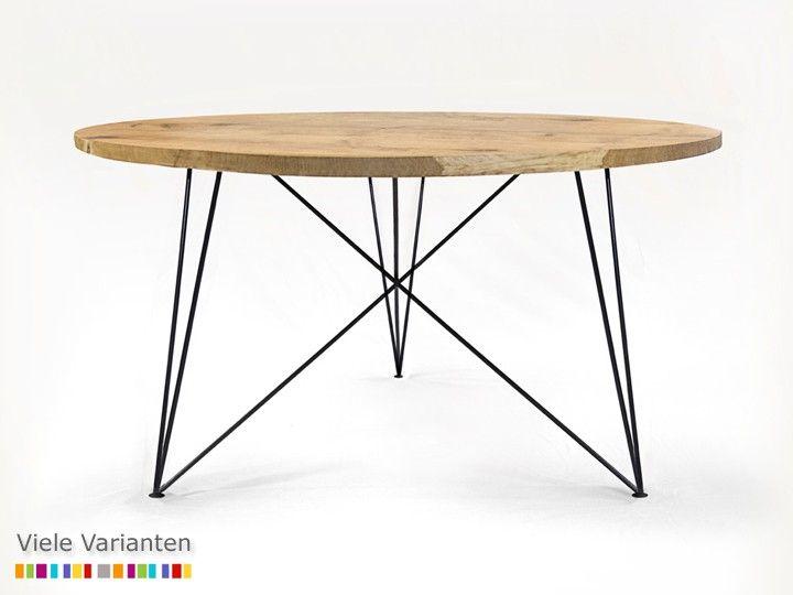 OAK STEEL TABLE Esszimmer Esstisch rund NutsandWoods Eiche & Eisen