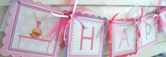 Gymnastics birthday banner in girly colora