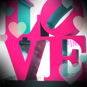 NYC LOVE sign decorated with my PINK NATION APP #PINKNATION