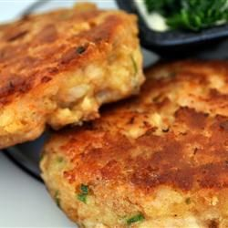 Crab Cakes recipe from Allrecipes.com Very easy! love crab cakes! I used Trader Joes canned crab meat and it worked great!