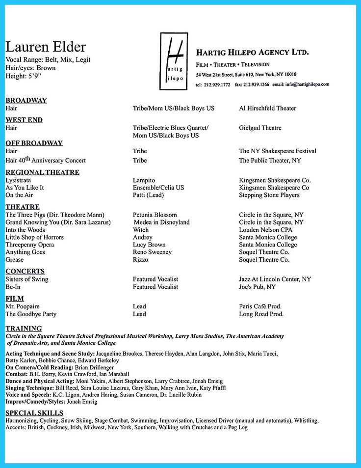 commercial actor resume sample
