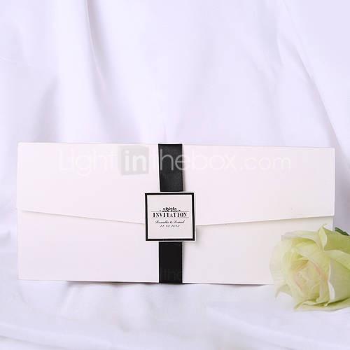 personalizzata invito a nozze bianco con nastro nero (set di 50)