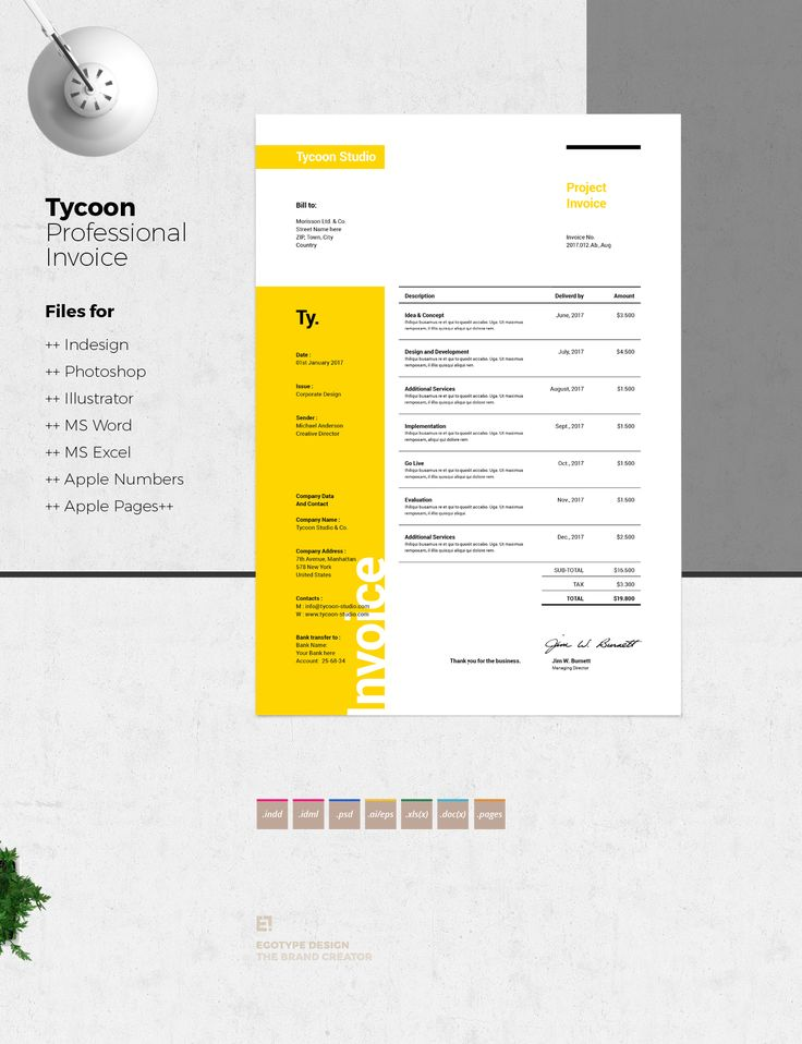 Minimal Invoice TemplatesMinimal and Professional Proposal Brochure template for creative businesses, created in Adobe InDesign, Adobe Photoshop, Adobe Illustrator, Microsoft Excel, Microsoft Word and Apple Number and Apple Pages in International DIN A4…
