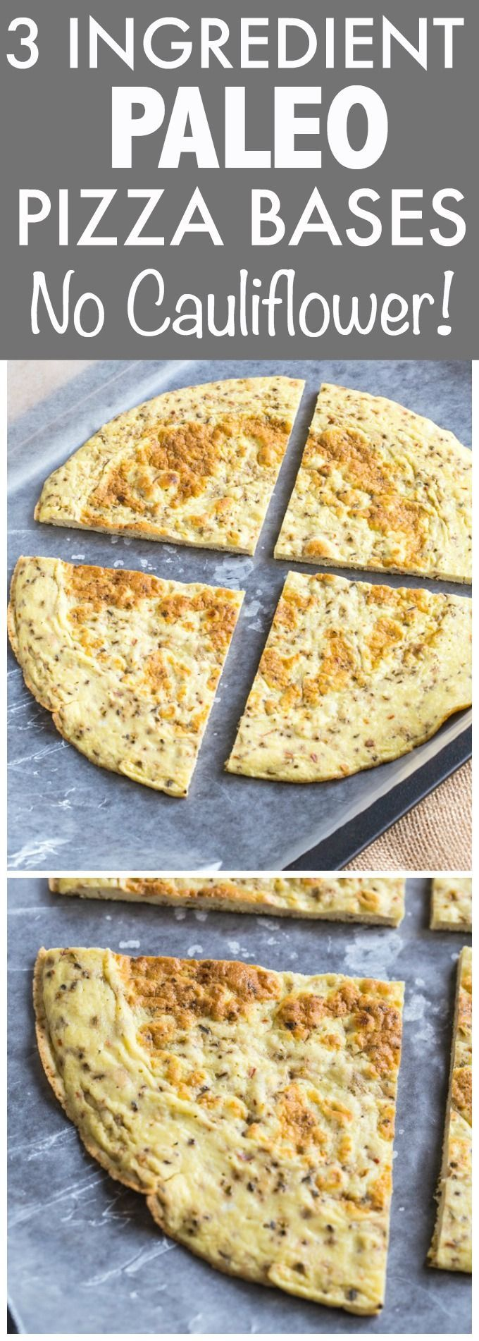 3 Ingredient Paleo Pizza Bases which have NO cauliflower and are made stovetop- They are ready in no time and chock full of protein! Gluten free and Whole30 friendly! - http://thebigmansworld.com