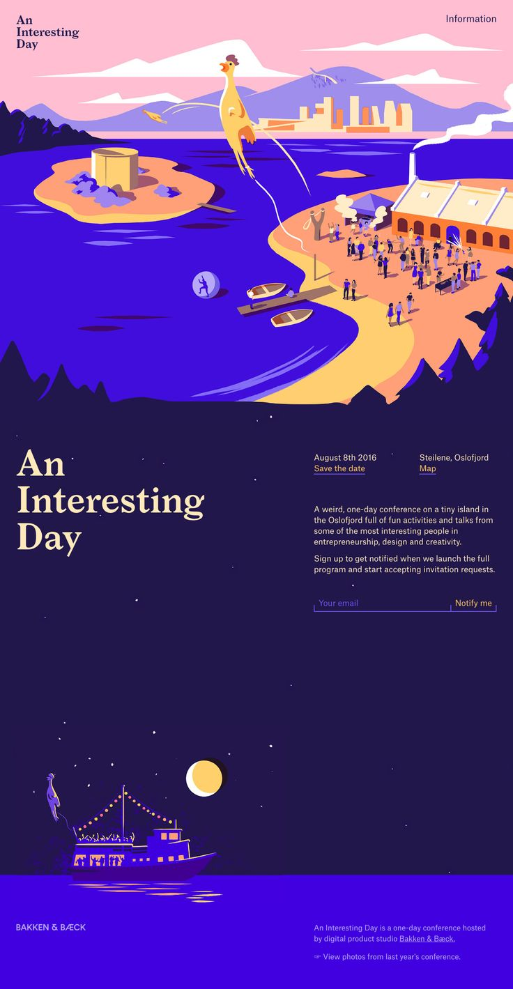Colorful One Pager with gorgeous illustrations announcing the date of the 2016 'An Interesting Day' event hosted by Bakken & Bæck.