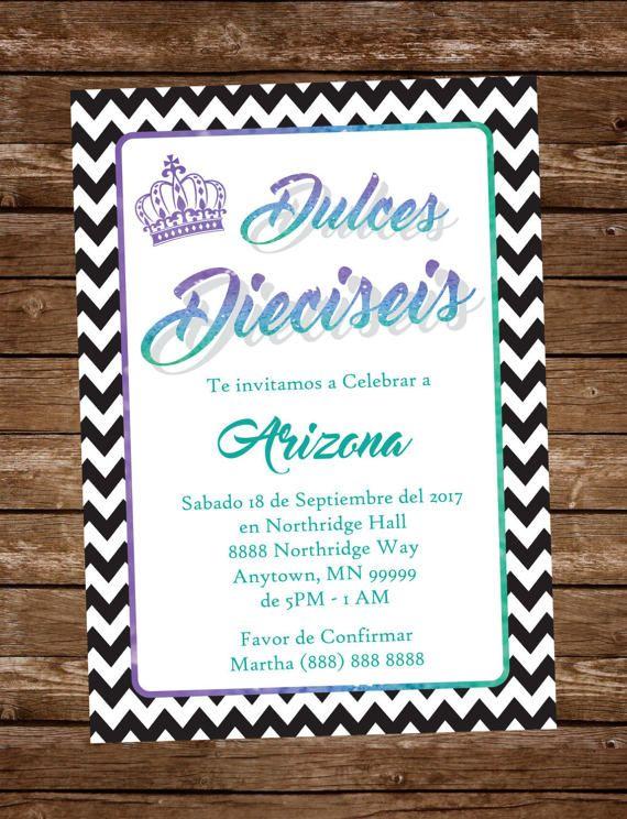 Invitacion Dulces Dieciseis Verde Morado Azul by MjVargasDesigns