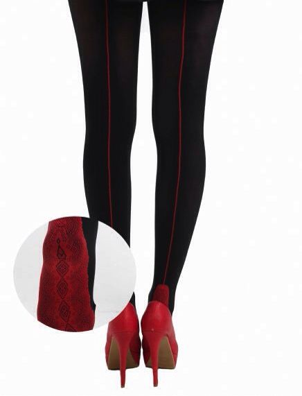 A fun twist on the classic jive seams. Black 80 denier tights with a contrasting red jive seam & luxurious lace foot. Buy on line now -->  http://www.claireabellascloset.co.uk/vintage/vintage-tights/product/1539-claireabella-s-closet-black-red-lace-foot-jive-seam-tights
