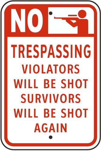 No Trespassing Signs, Security Signs, Private Property Signs, F7848