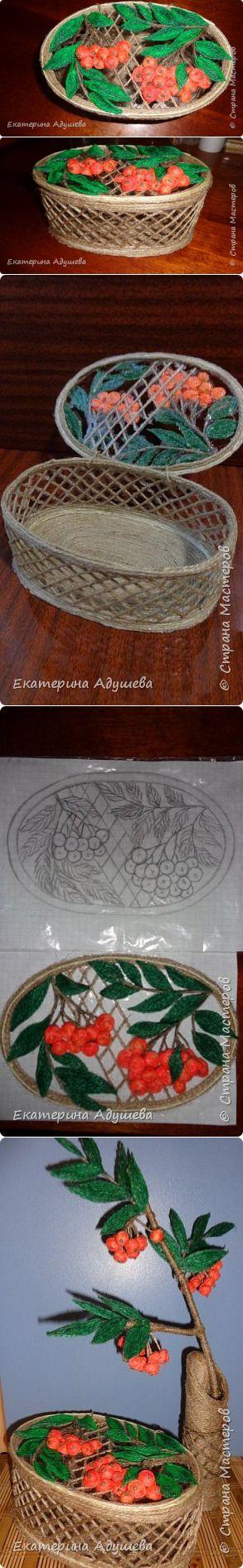 Поделки из джута шкатулка с вазой  ( Рябинка ) | Страна Мастеров