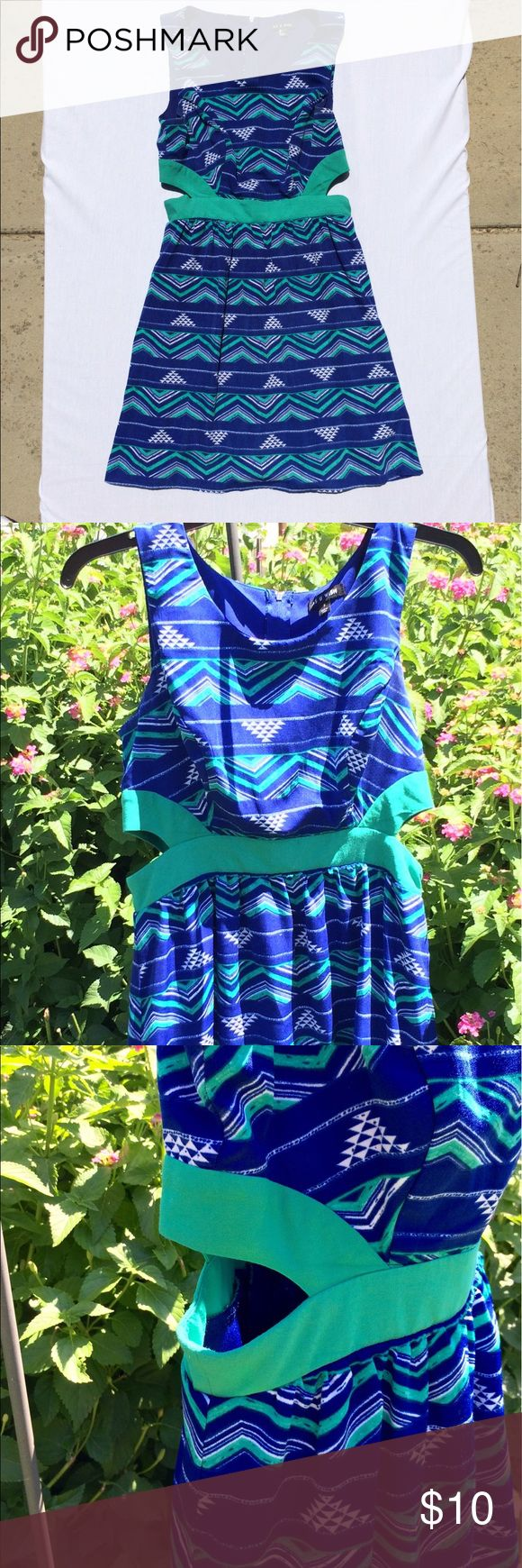 Sassy Open Side Chevron Pattern Dress Cute blue and green chevrons with open waist As You Wish Dresses
