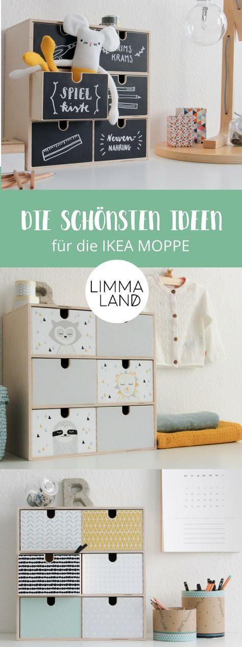 Ideen für die Gestaltung der IKEA MOPPE Kommode – diesmal alles zum Bekleben von Tafelfolie, Kinder-Motiven bis hin zu wunderschönen skandinavischen…