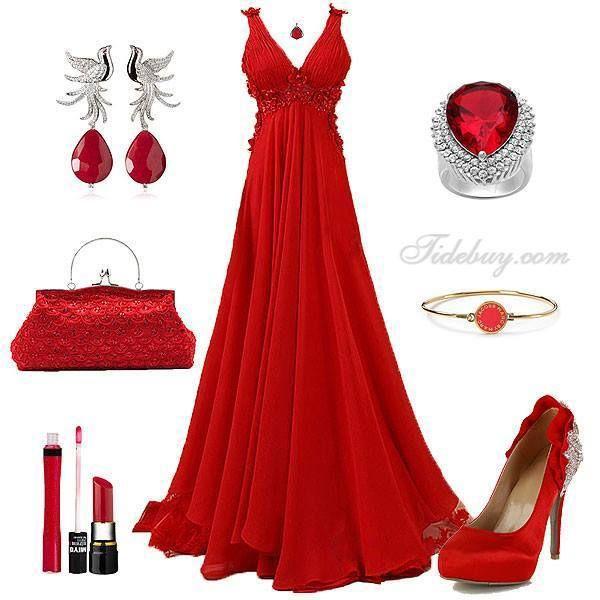 Vestido de noche rojo haircut