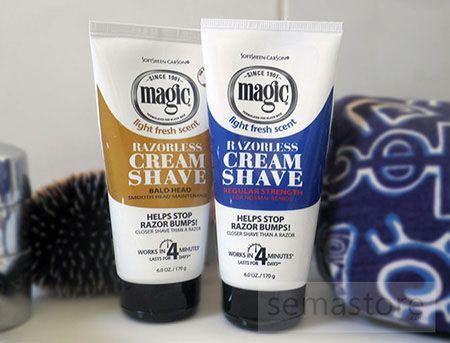 Les crèmes de rasage pour hommes, Magic Razorless Cream Shave, sont des crèmes dépilatoire pour un rasage parfait sans rasoir. Elles sont disponibles en différentes formules en fonction de la dureté du poil, et sont formulées pour un rasage de près des barbes difficiles. L'une est destinée pour la réalisation des coiffures au look chauve. Elles assurent un rasage en douceur, qui agit dès 4 minutes et qui dure jusqu'à 4 jours et empêche l'apparition de boutons et bosses de rasage. #rasage