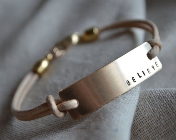 Large Gold Bracelet Leather Mantra Hand by ThoughtBlossoms, $60.00                                                                                                                                                                                 More