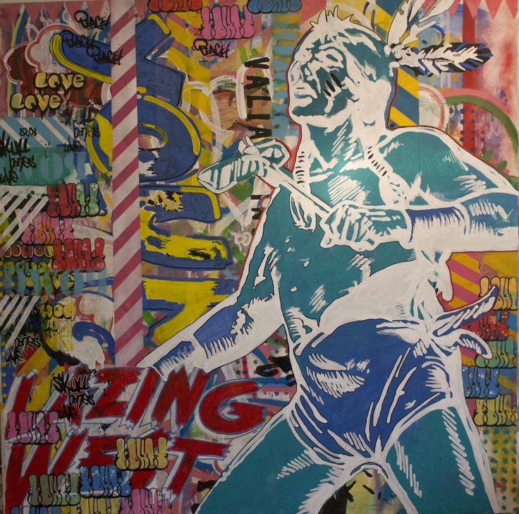 ALPER BIÇAKLIOĞLU / WHITE  Tuval Üzerine Akrilik Boya, Sprey Boya, Serigrafi Baskı / Acrylic Paint, Sprey Paint, Screen Print on Canvas, 100x100 cm, 2015.
