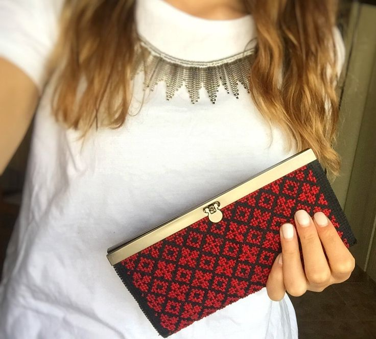 Red Embroidered Wallet -  Handmade Traditional Palestinian Embroidery. by Shaymas on Etsy