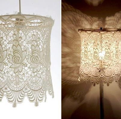 ❥ lace lampshade~