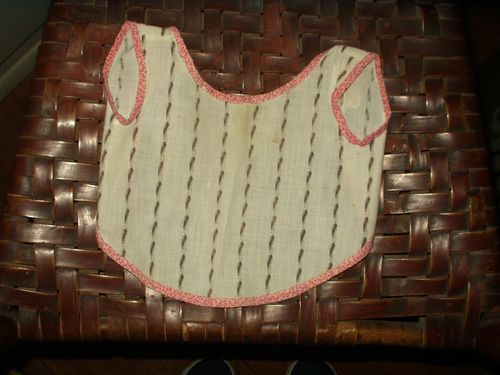 Victorian Calico Fabric Doll Baby Apron Bib White Black Trim Double Pink Fabric
