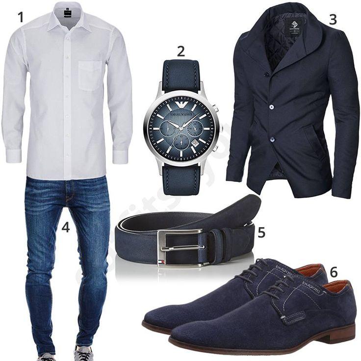 Weißes Olymp Hemd, Jack & Jones Jeans, blauem Moderno Sakko und Emporio Armani Armbanduhr, Tommy Hilfiger Ledergürtel und Bugatti Schuhen.
