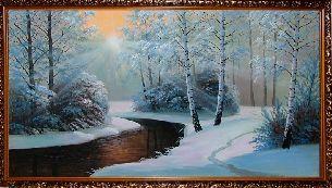Зима в лесу - Зимний пейзаж <- Картины маслом <- Картины - Каталог | Универсальный интернет-магазин подарков и сувениров