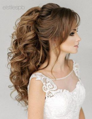 Side French Braid Low Wavy Bun Wedding Hairstyle